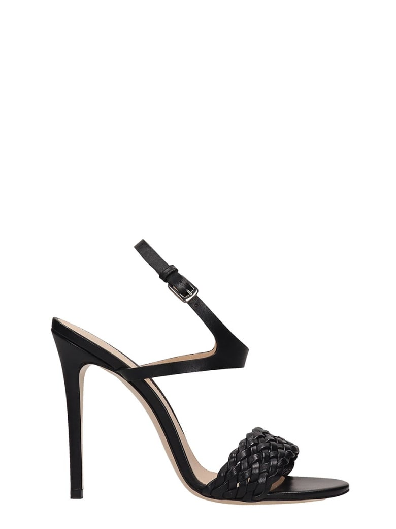 Dei Mille Black Leather Sandals - black