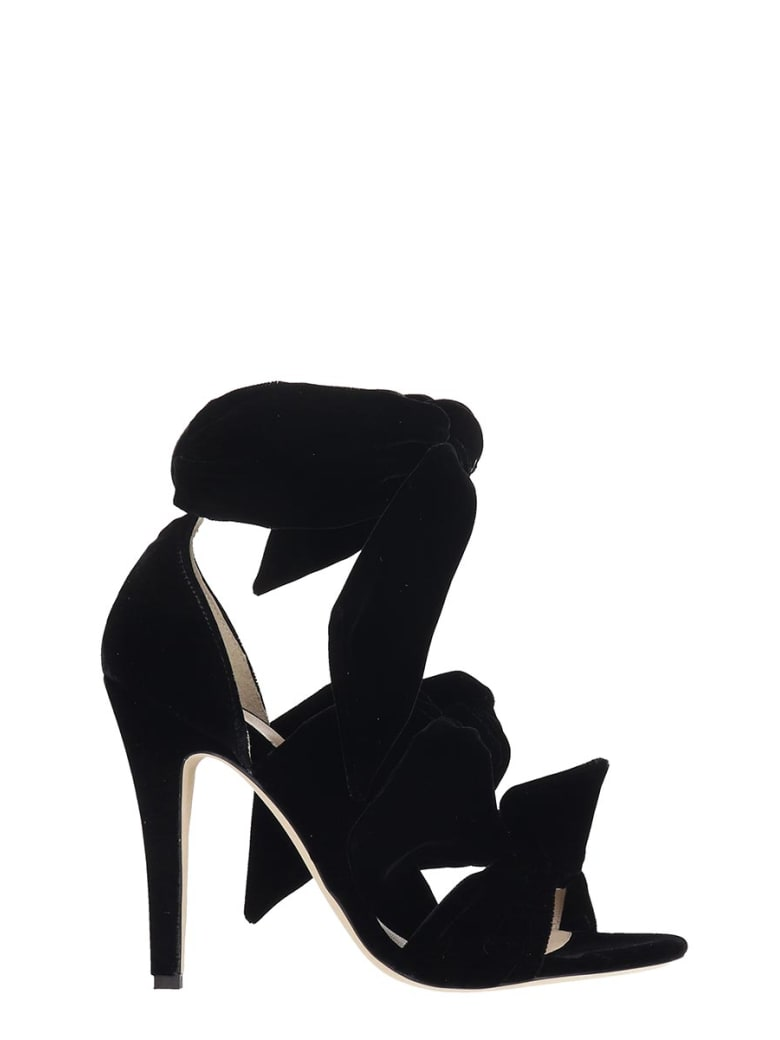 GIA COUTURE Sandals In Black Velvet - black