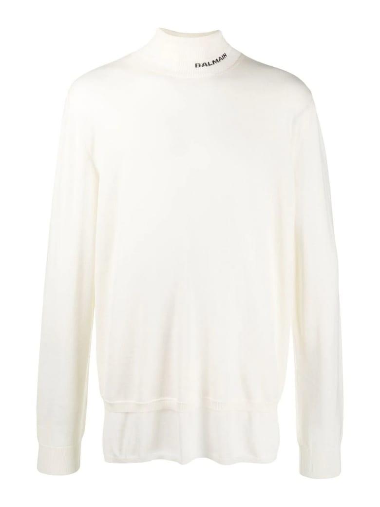 Balmain White Virgin Wool Jumper - Panna