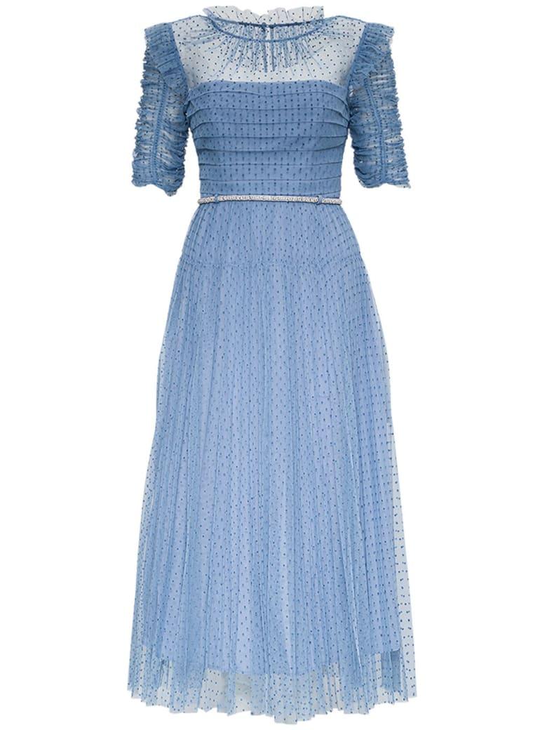 self-portrait Long Dress In Light Blue Polka Dottulle - Light blue