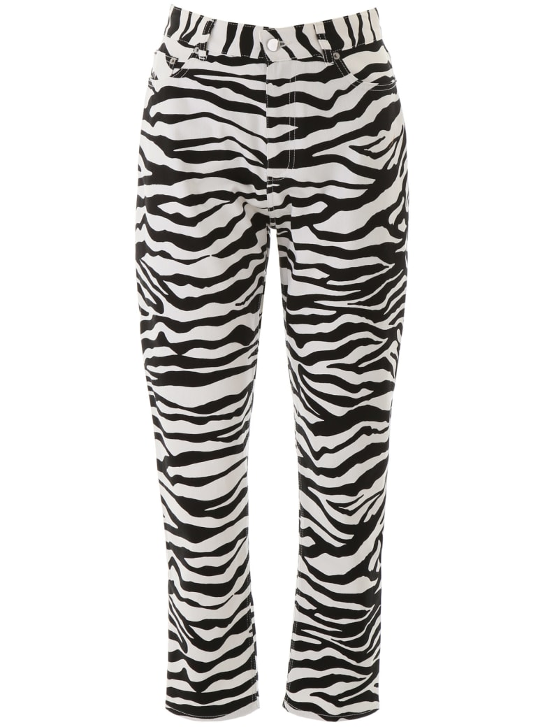 The Attico Zebra Print Trousers - BIANCO NERO (Black)