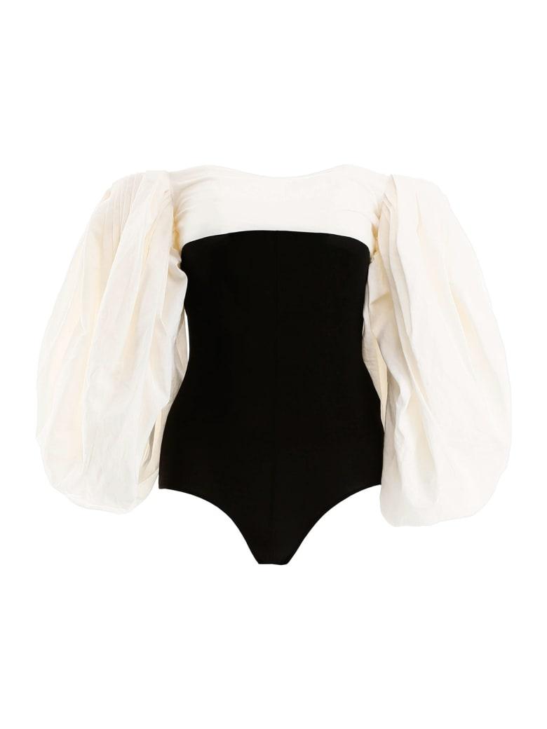 A.W.A.K.E. Mode Two-tone Bodysuit Top - BLACK WHITE (Black)