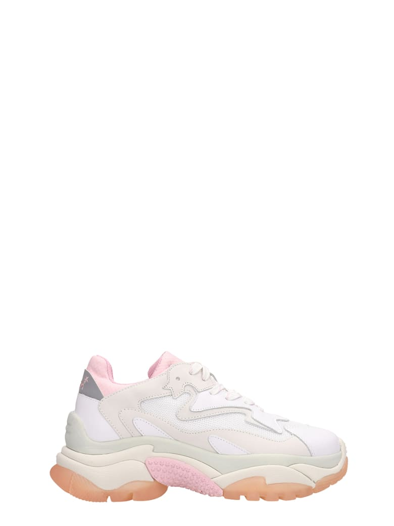 Ash Addict Trainers White Pink Leather And Mesh - white