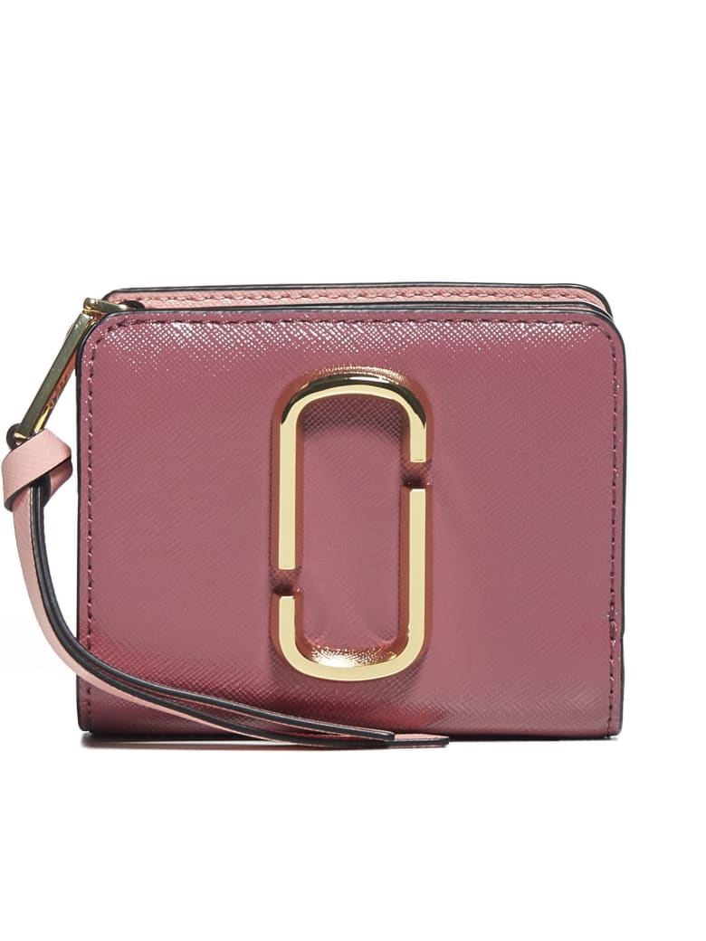 Marc Jacobs Leather Mini Compact Wallet - Dusty ruby multi