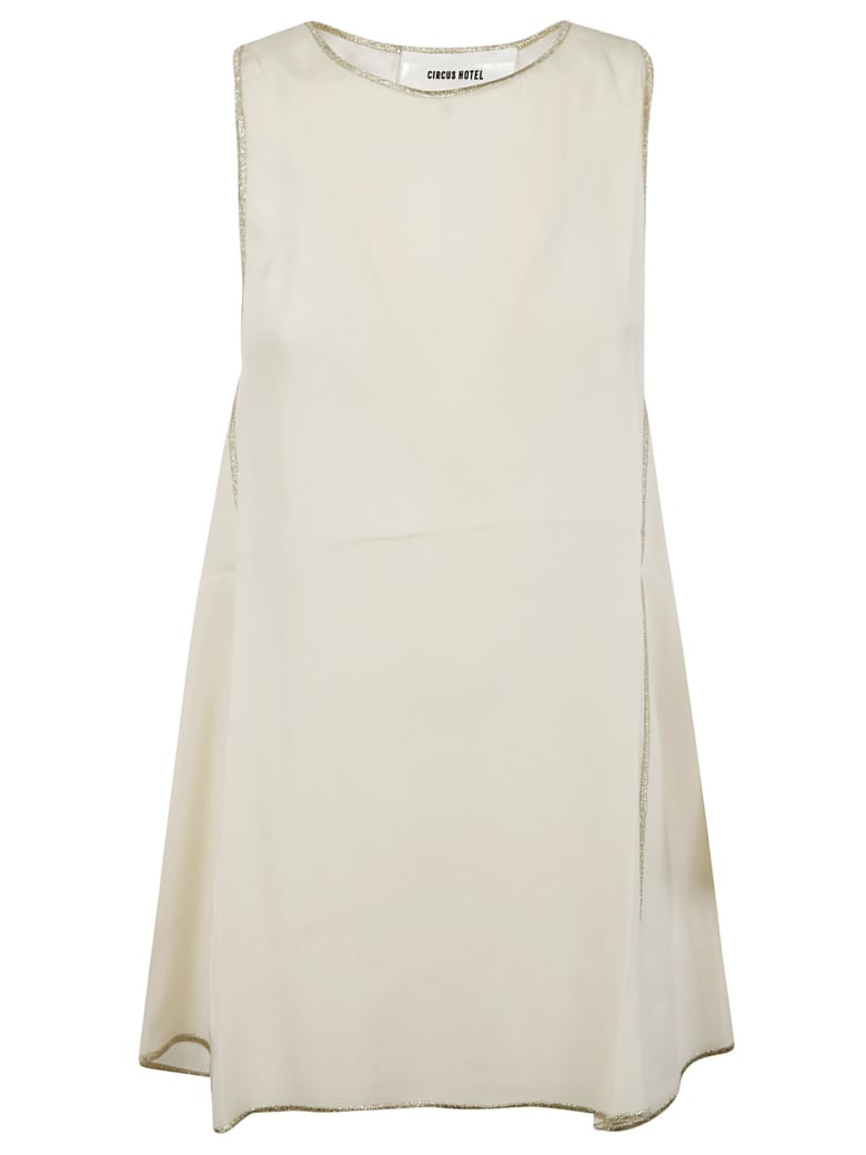 Circus Hotel Sleeveless Flared Top - Cream