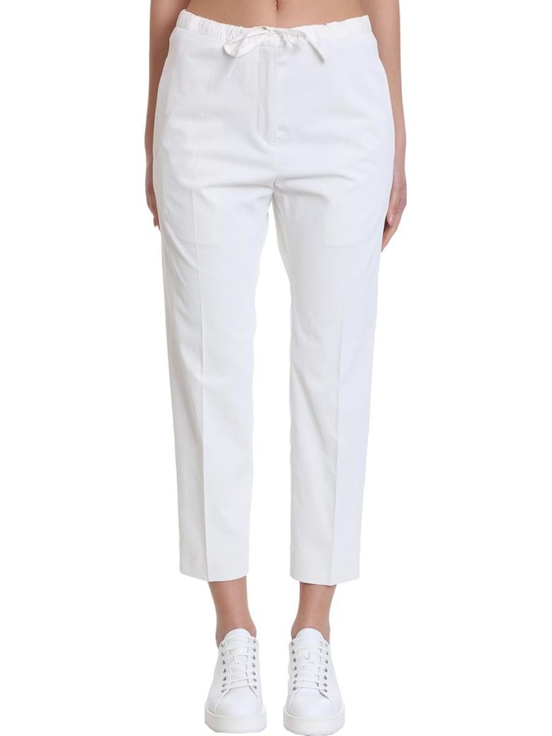 Jil Sander Drawstring Crop Pants In White Polyester - white