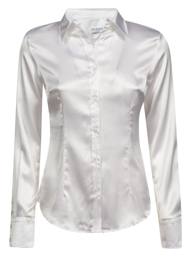 Eddy Monetti Plain Silk Shirt - White