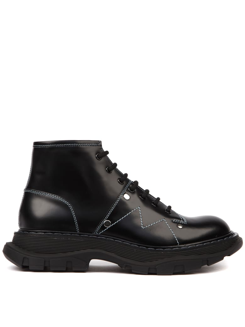 Alexander McQueen Black Leather Ankle Boots With White Seams - Black