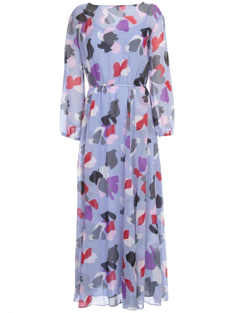 Emporio Armani Long Dress L/s Slits On Waist Fantasy - Fantasia Lilla