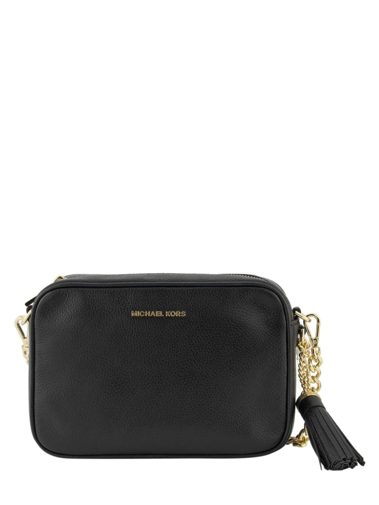Best price on the market at italist | Michael Kors Michael Kors Ginny Leather Crossbody Bag Black