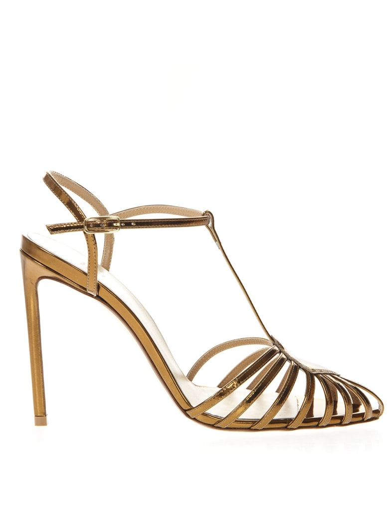 Francesco Russo Gold Mirror Cage Leather Sandals - Gold
