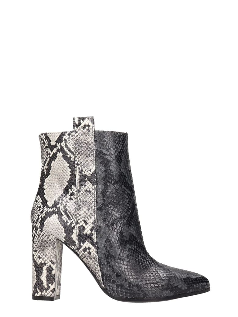 Via Roma 15 High Heels Ankle Boots In Grey Leather - grey