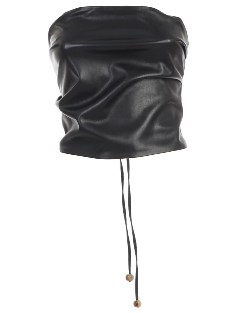 Nanushka Dalhia Top Faux Leather - Black