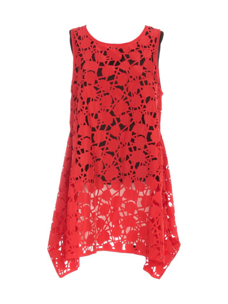 Maria Calderara Dress W/s Lasercut Opaque Taffeta Georgette - Red Black Top