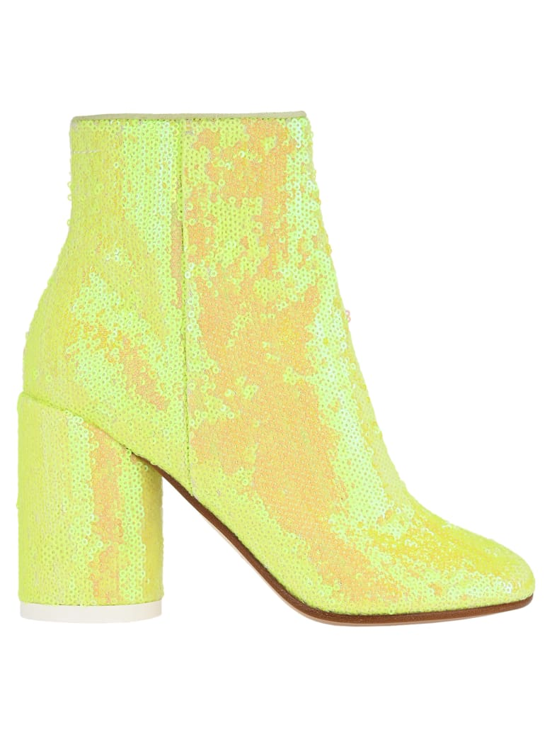 MM6 Maison Margiela Mm6 Sequin-embellished Ankle Boots - YELLOW