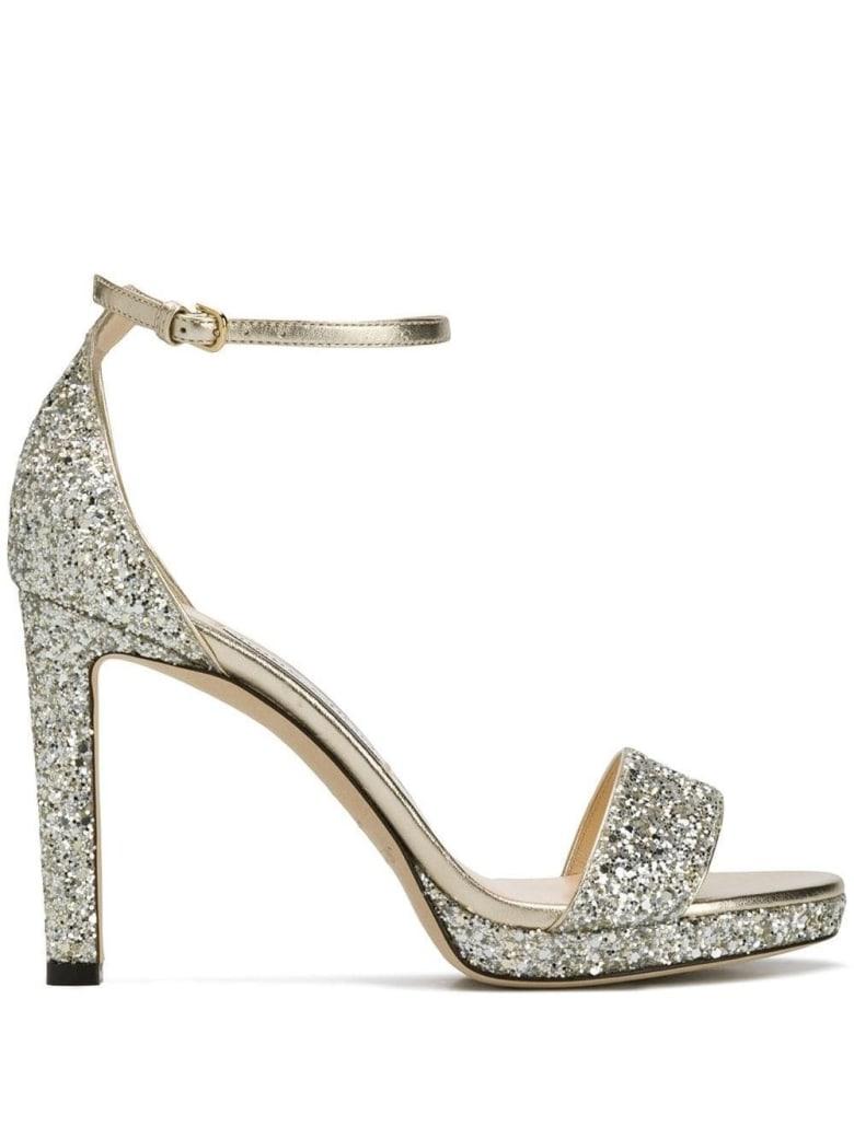 Jimmy Choo Misty Glitter Sandals - Beige