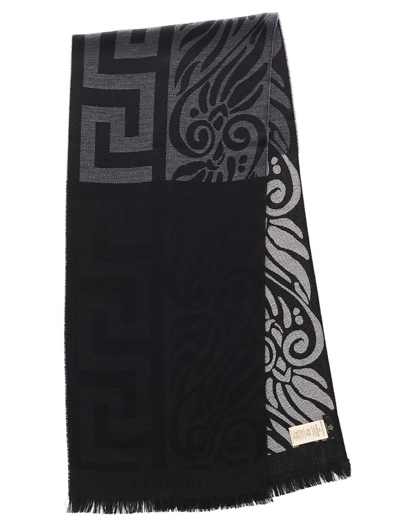 Versace 'greca Bicolor' Scarf - Black