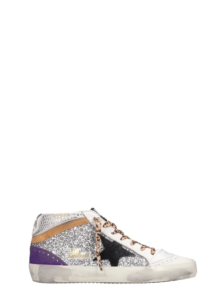 Golden Goose Mid Star Sneakers In Silver Tech/synthetic - silver