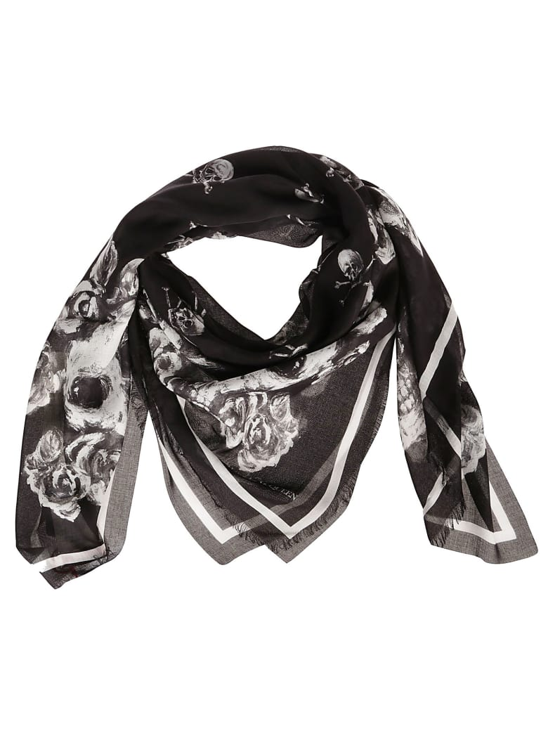 Alexander McQueen Skull And Floral Scarf - Black