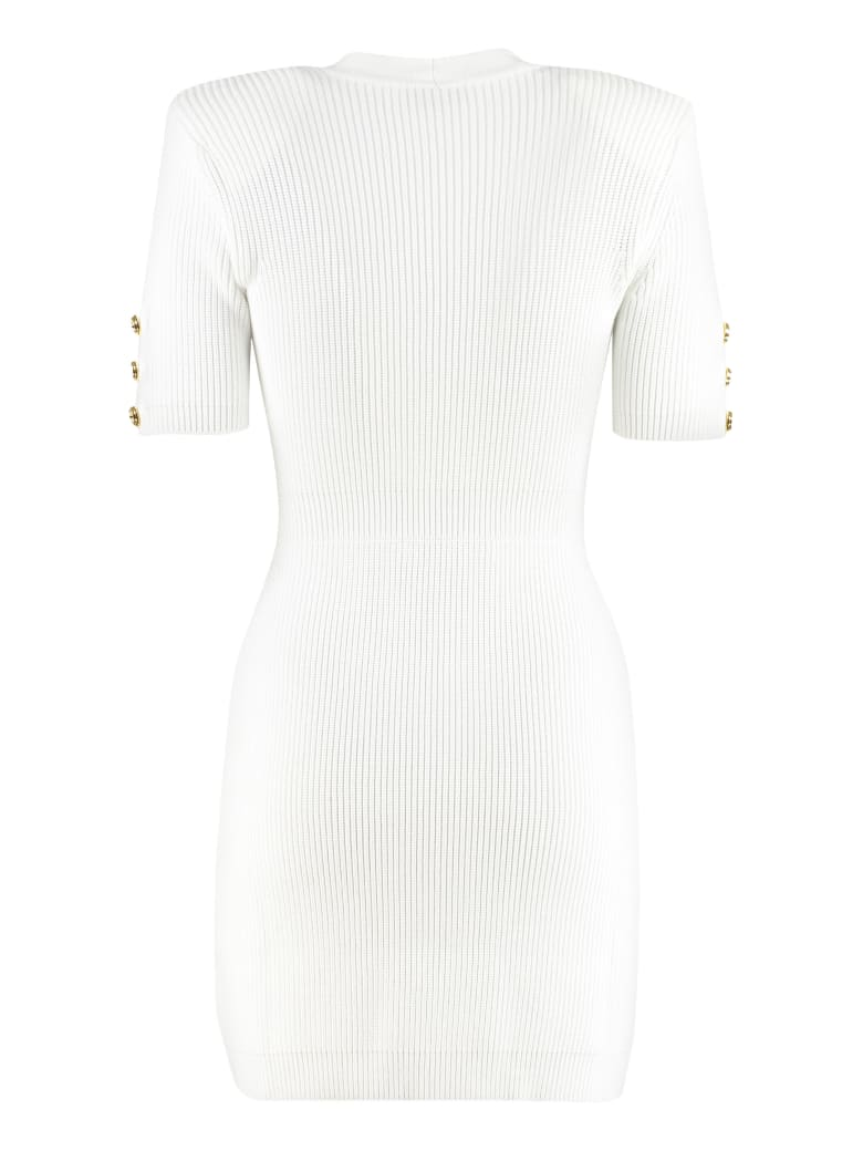Elisabetta Franchi Ribbed Knit Dress - White