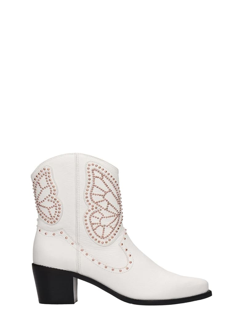 Sophia Webster Shelby Low Heels Ankle Boots In White Leather - white