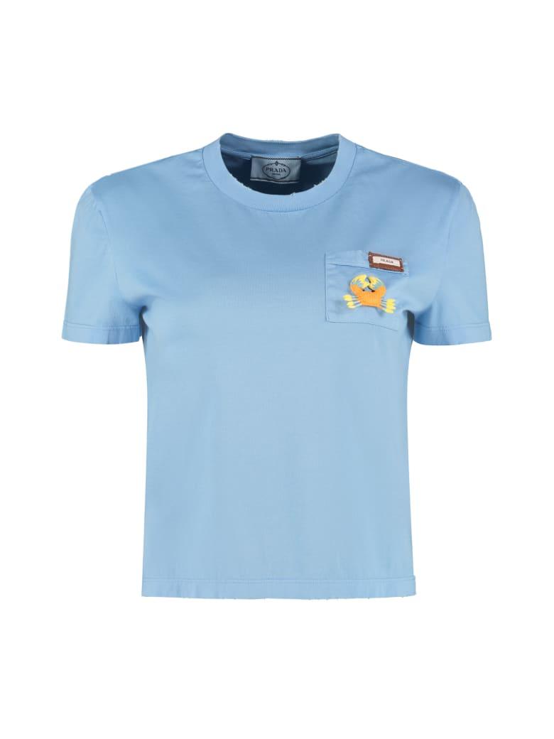 Prada Crew-neck Cotton T-shirt - Blue