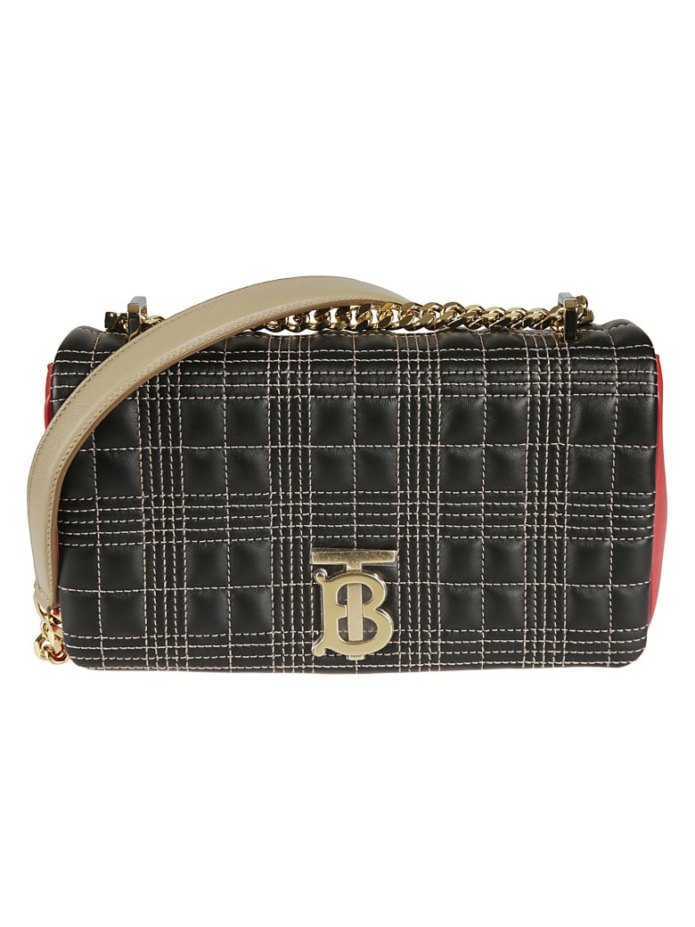 Burberry Small Lola Shoulder Bag - Black/Red/Camel