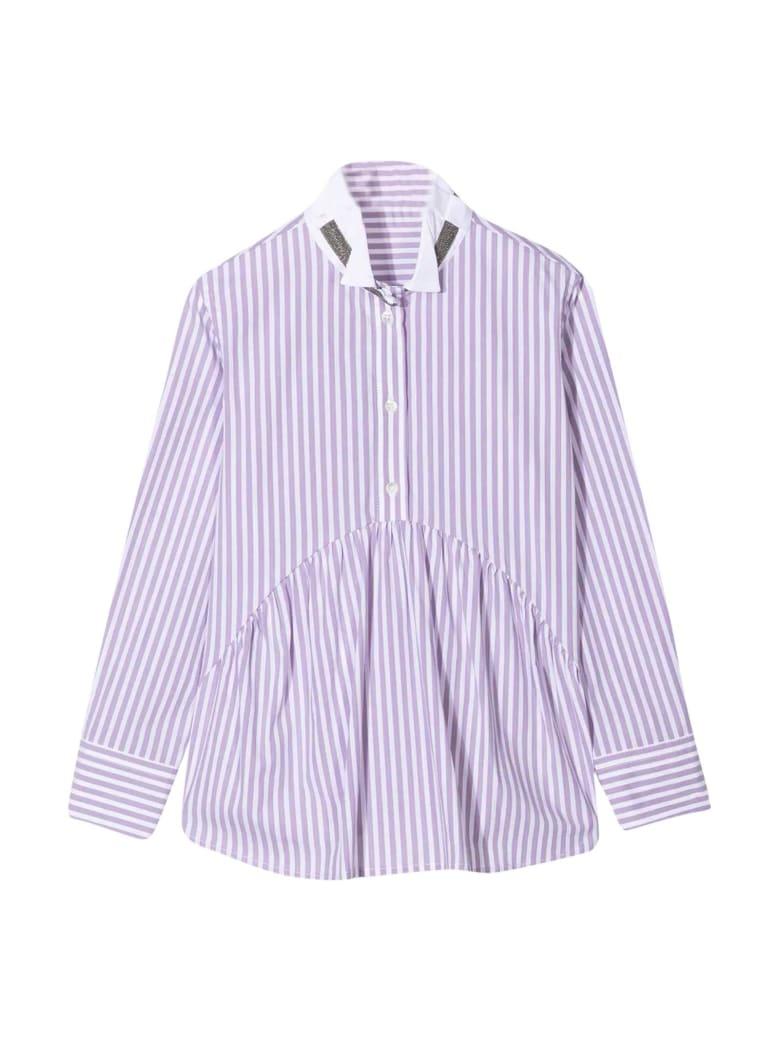 Brunello Cucinelli Purple Striped Chemisier - Lilla
