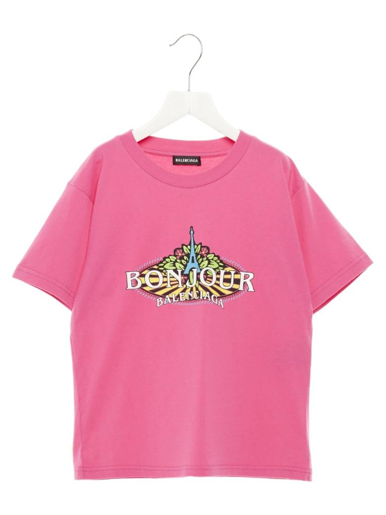 Balenciaga 'bonjour Paris' T-shirt - Fuchsia