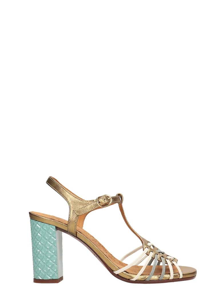Chie Mihara Gold Leather Bandida Sandals - gold
