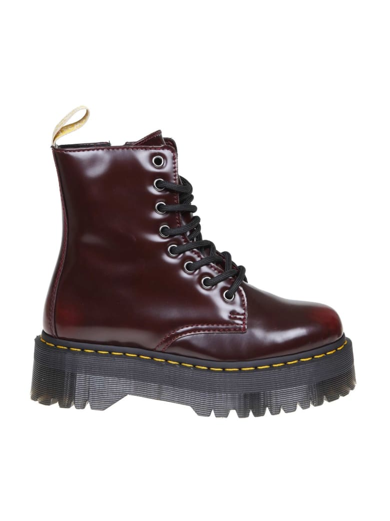 Dr. Martens Dr.martens Anfibio Vegan Jadon Ii In Polished Leather Cherry Color - CHERRY