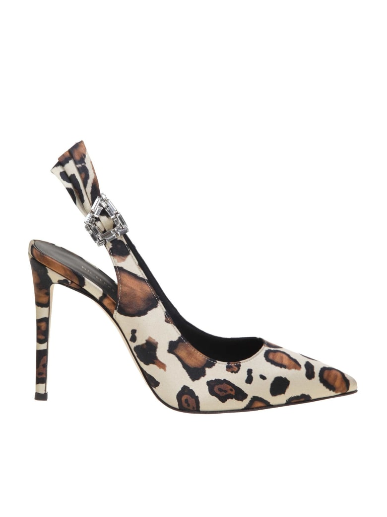 Giuseppe Zanotti Decollete Samia In Silk With Maculated Print - Natural