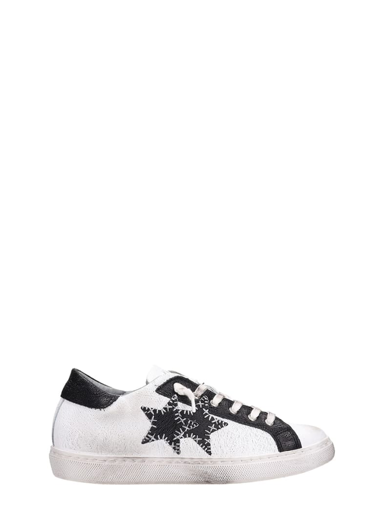 2Star Low White Black Leather Sneakers - white