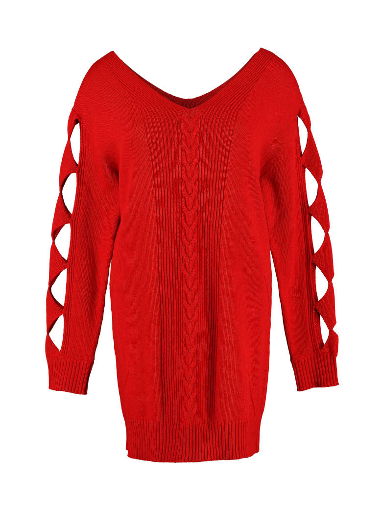 Boutique Moschino Cut-out Details Sweater Dress - red