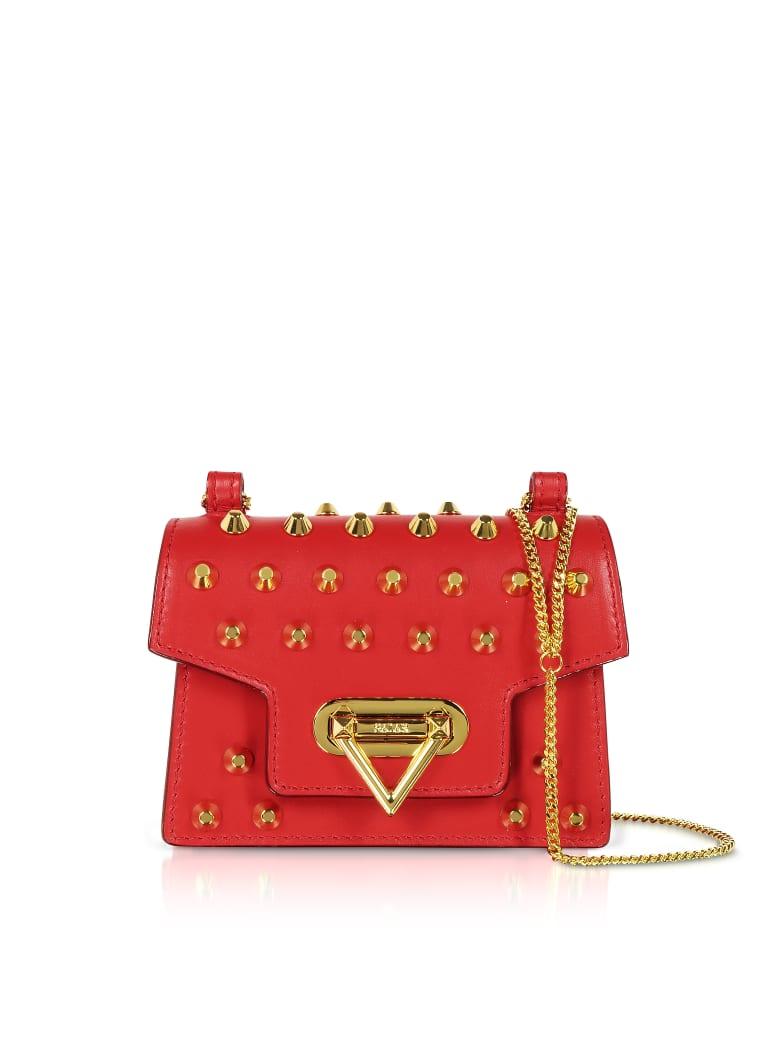 Salar Bebe Studs Leather Mini Shoulder Bag - Cherry