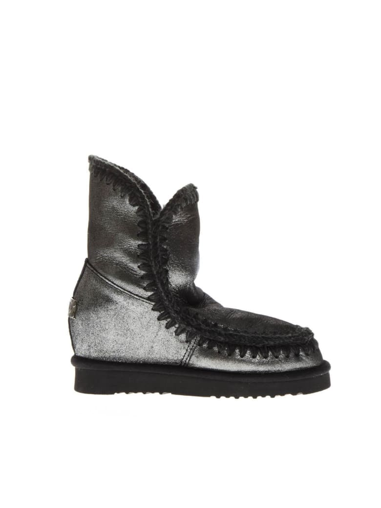 Mou Eskimo Silver Leather & Wool Boots - Silver