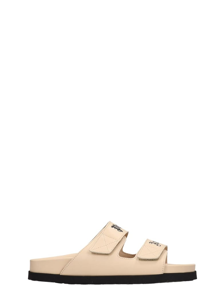 Palm Angels Flats In Beige Leather - beige