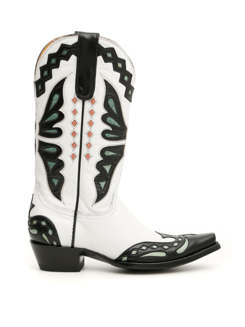 Jessie Western Butterfly Cowboy Boots - WHITE 001 (White)