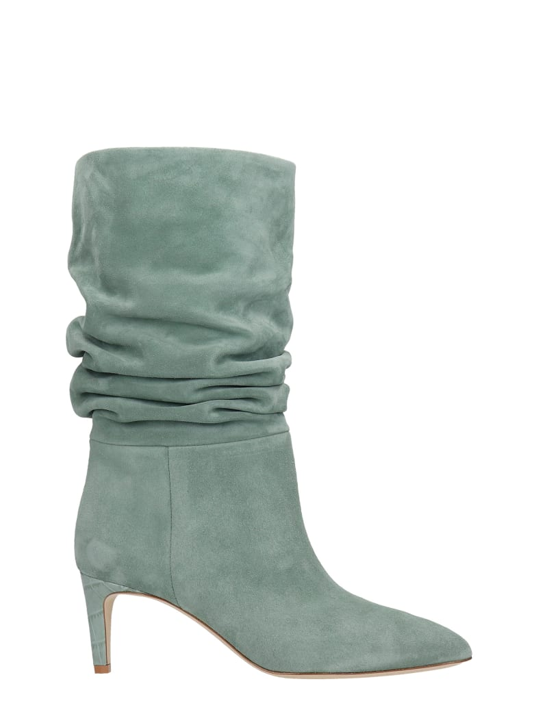 Paris Texas High Heels Ankle Boots In Green Suede - green