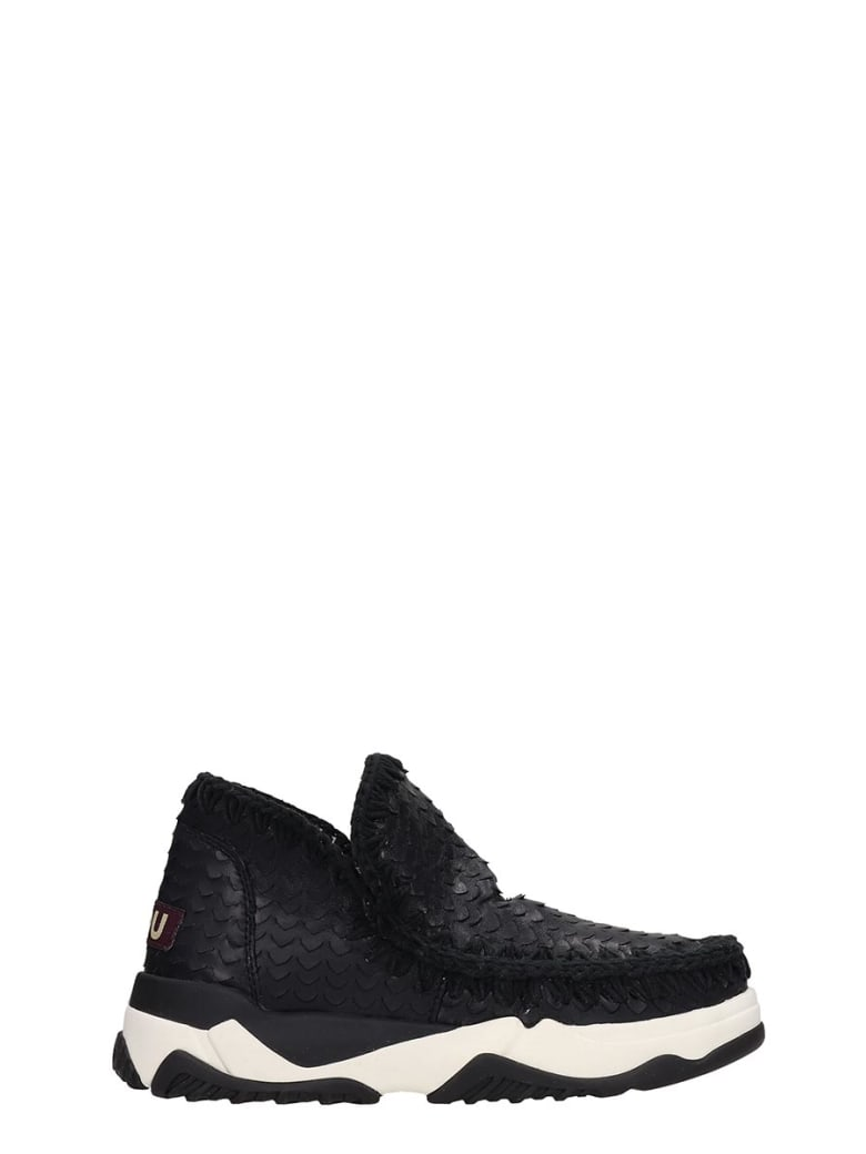 Mou Eskimo Trainer Sneakers In Black Leather And Printed Pyton - black