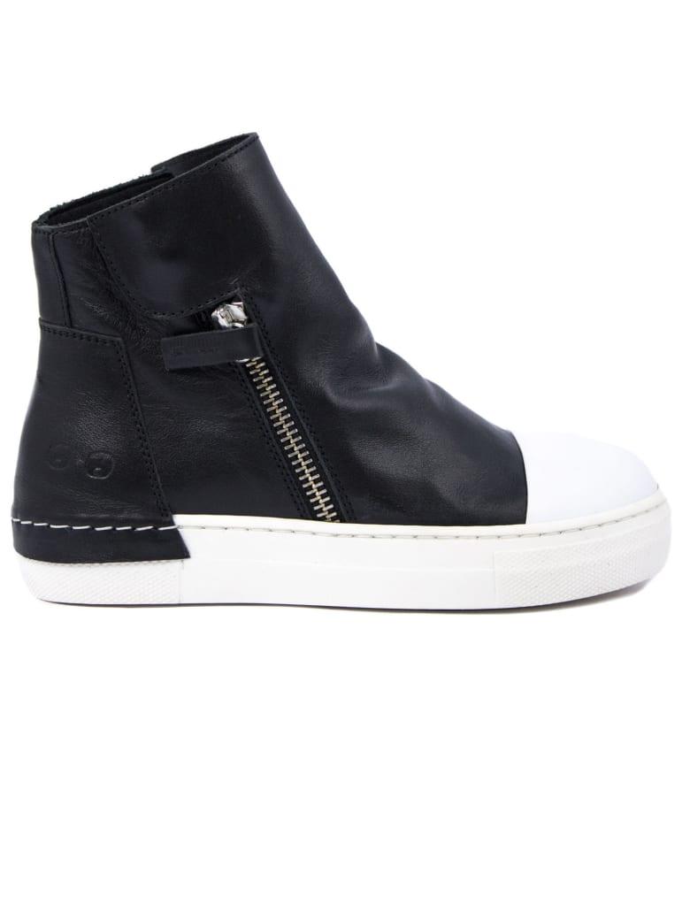 Cinzia Araia High-top Sneaker In Black Leather - Bianco+nero