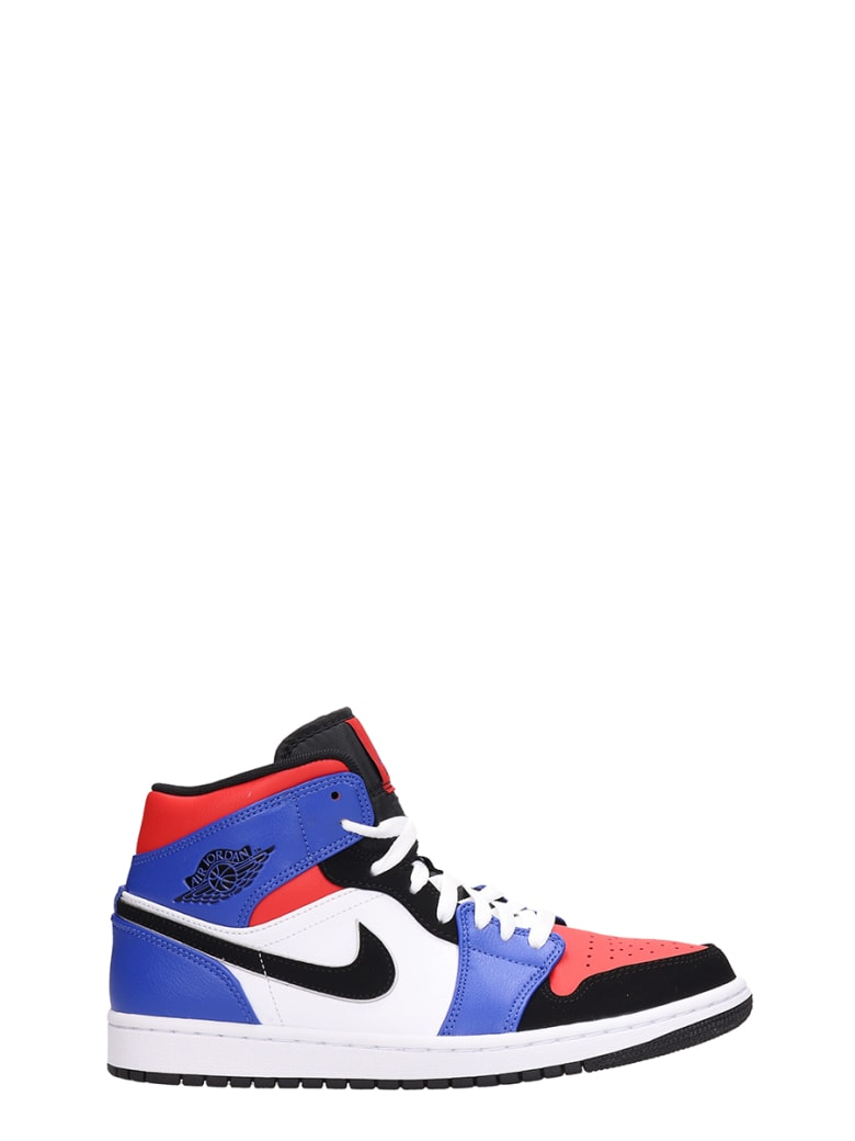 Nike Air Jordan 1 Mid White/red And Blue Leather And Suede Sneakers - white