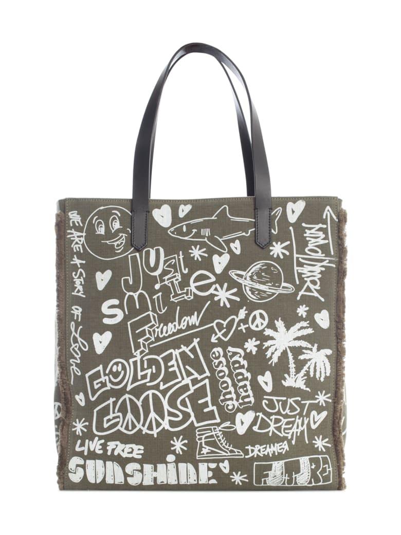 "Golden Goose California Bag N-s ""journey"" Washed Kuroki Body Leather Handles Serigraph - Lichen Green White"