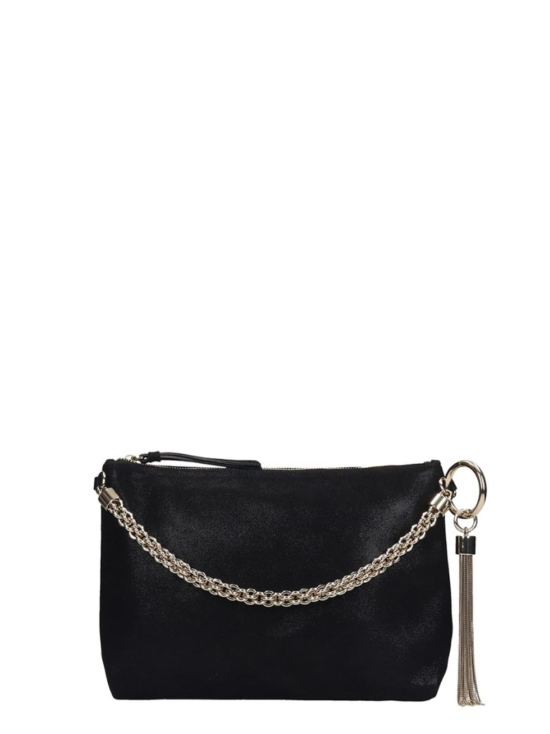 Jimmy Choo Callie  Clutch In Black Leather - black