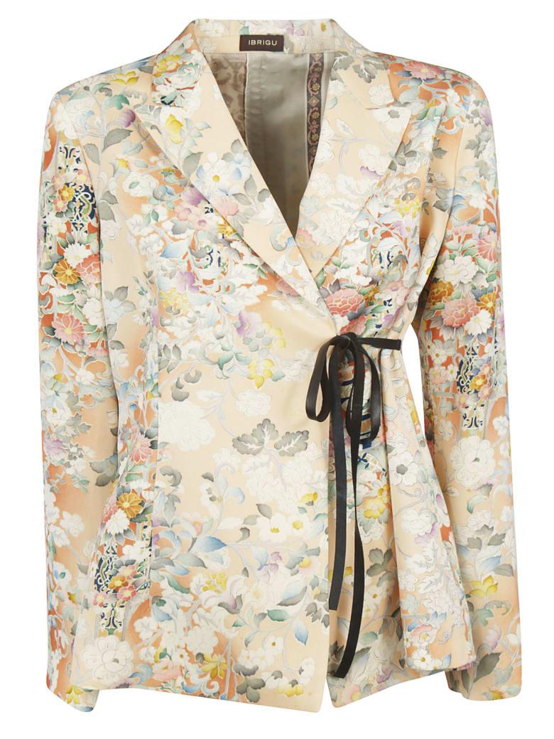 Ibrigu Floral Print Drawstring Blazer - Beige/Multicolor