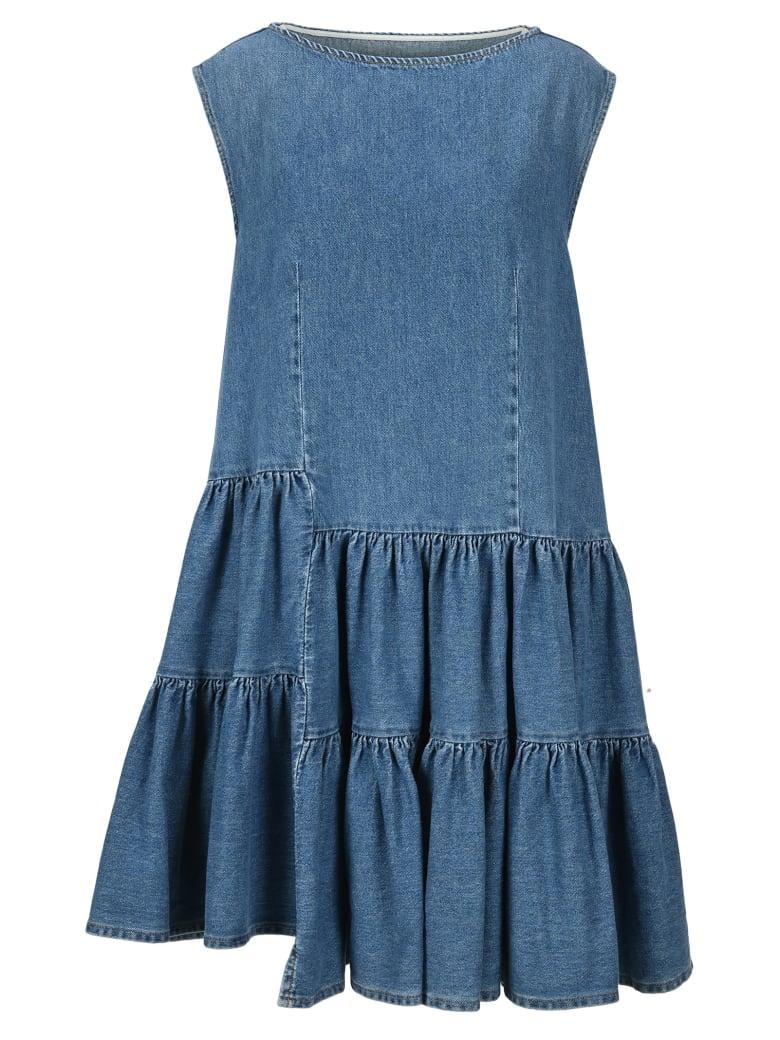 MM6 Maison Margiela Mm6 Asymmetric Ruffled Denim Dress - BLUE