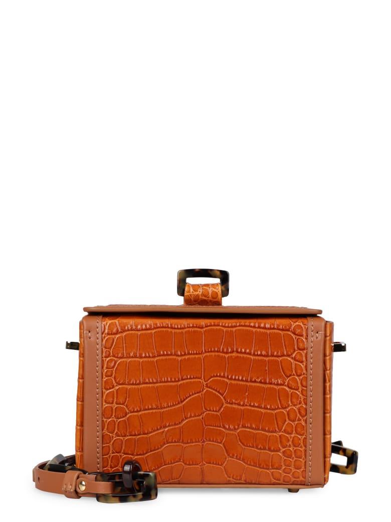 Nico Giani Cerea Crocodile Print Leather Bag - Saddle Brown
