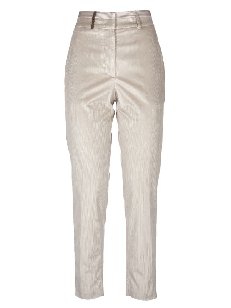 Peserico Pme Trousers In Dove Color Corduroy - Brown