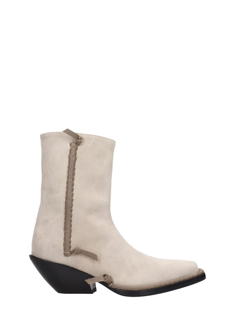 Acne Studios Breanna  Texan Ankle Boots In Beige Suede - beige