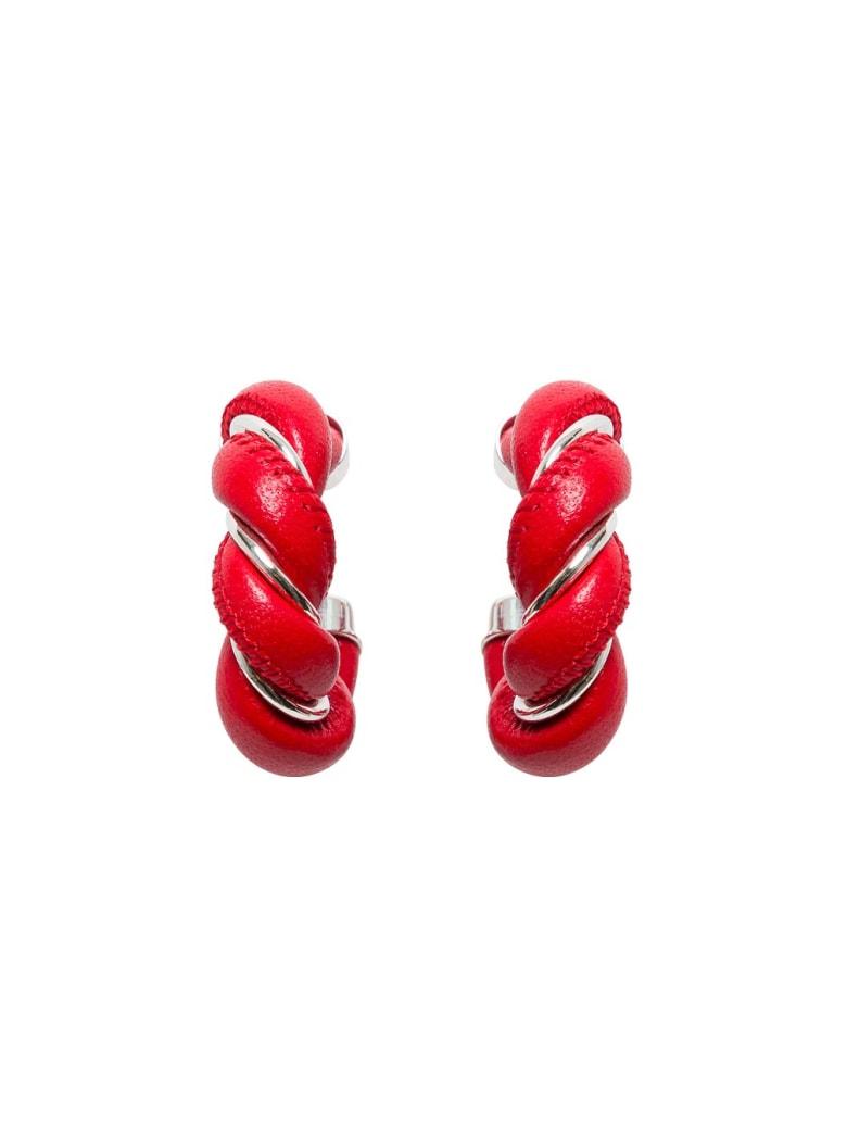 Bottega Veneta Hoop Earrings In Nappa And Silver - Red